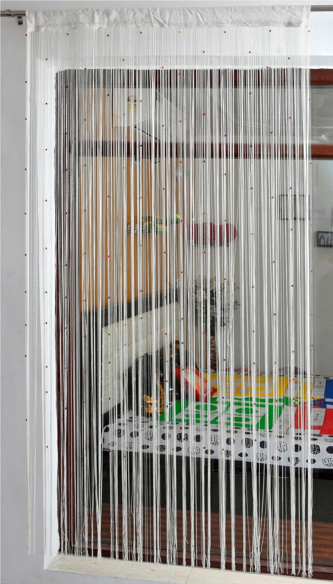 Ace International Exports Single Long Door Semi-Transparent Rod Pocket Polyester Curtains White