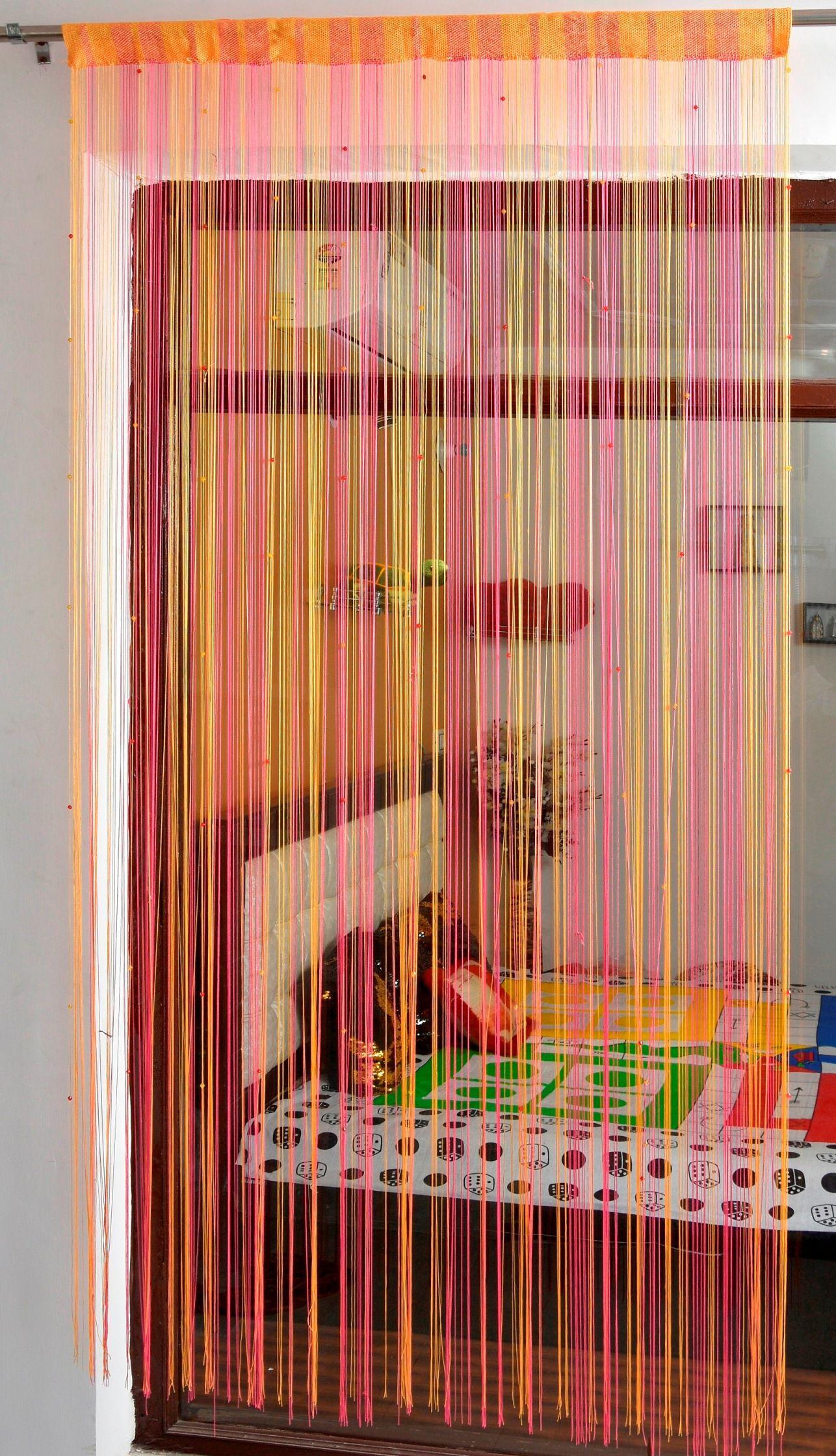 Ace International Exports Single Long Door Semi-Transparent Rod Pocket Polyester Curtains Pink