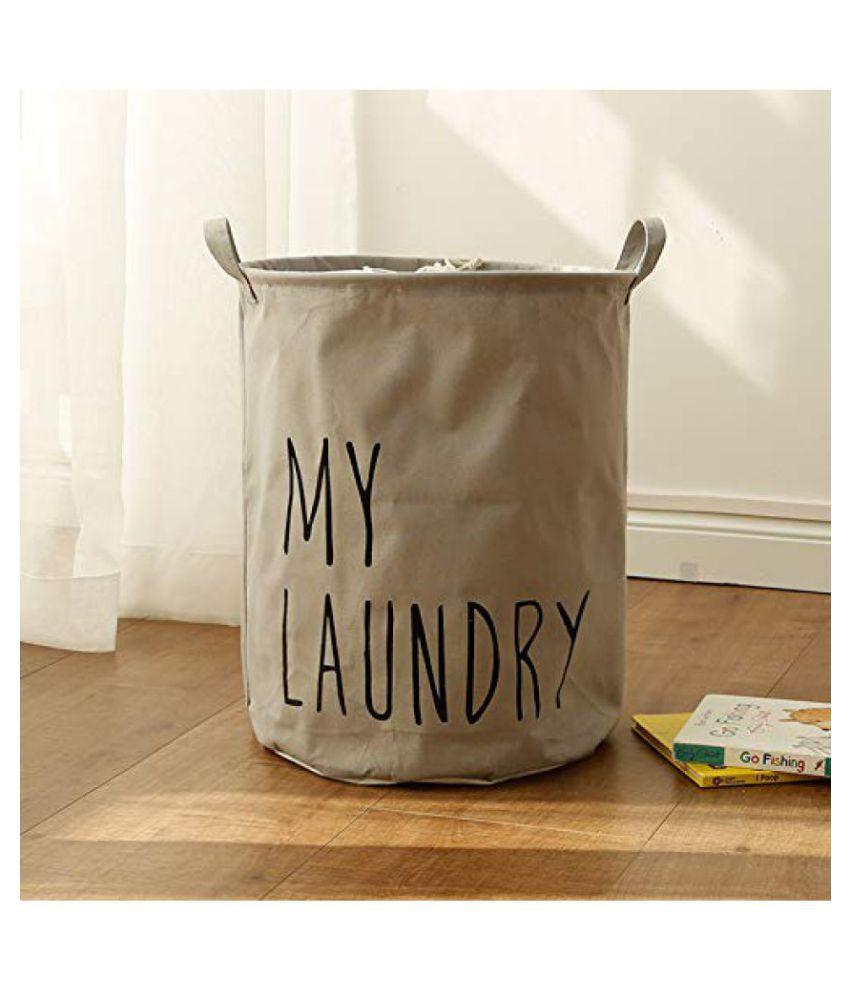 Everbuy Grey Cotton Laundry Basket Clothes Storage Bag