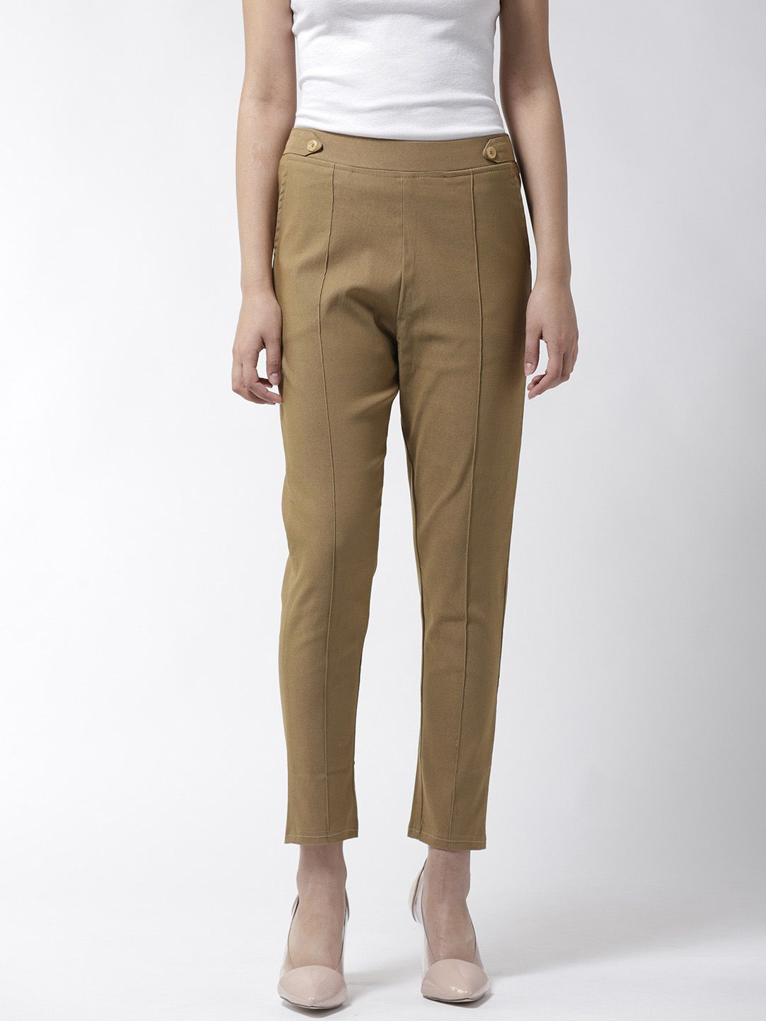 La Zoire Cotton Lycra Jeggings - Khaki