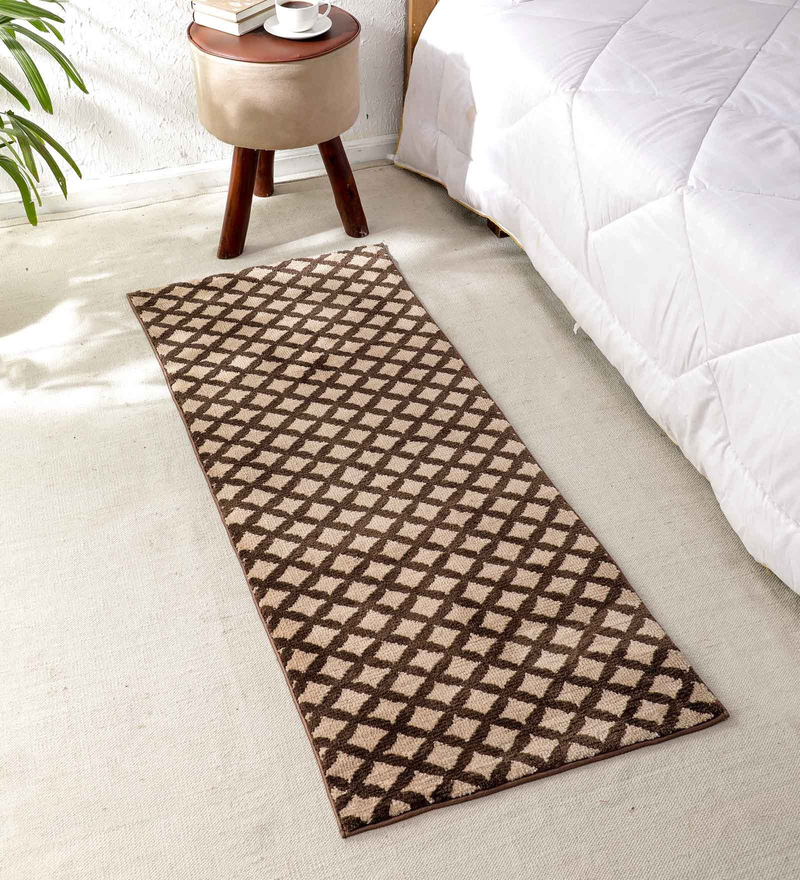 Flooring India Light Beige & Coffee Polyester Jewel Tiles 24x60 Inch Anti Skit Runner