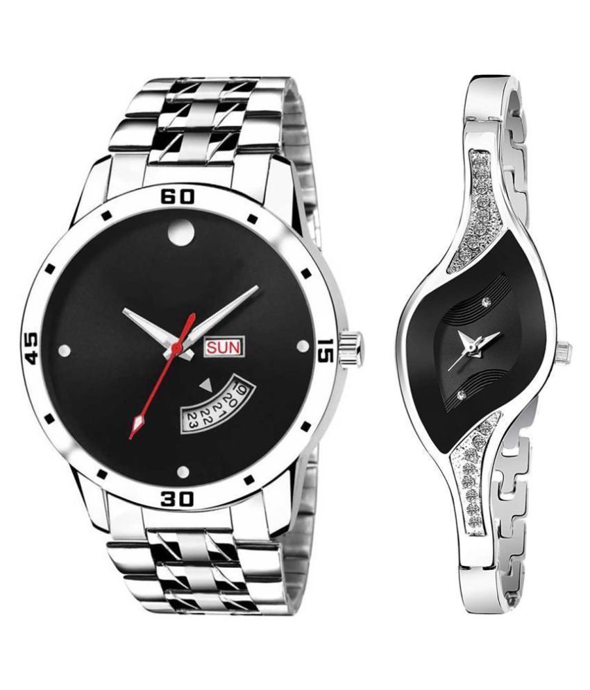 black Dial Day & date Fancy Couple Watch For New Lovers