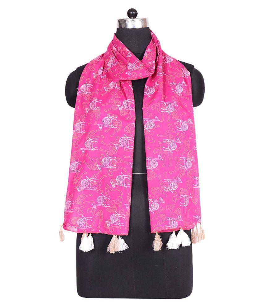 Indha Craft Pink Printed Cotton Stoles