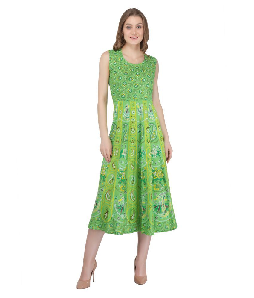 Decot Paradise Cotton Green Fit And Flare Dress
