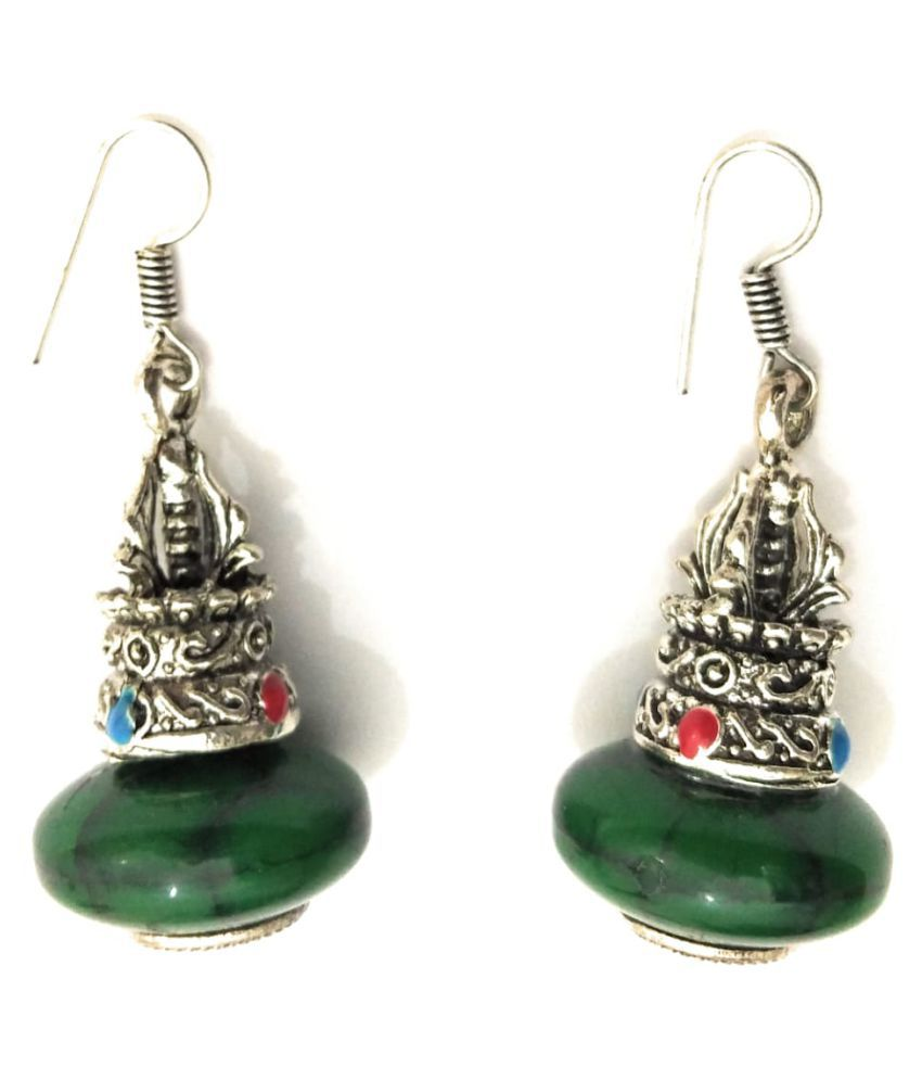 81f096285e86a Athizay Oxidized German silver Matka Pattern Drop and Dangle resin earring  in Green Color For Formal Or Casual Wear Women Fashion Jewellery
