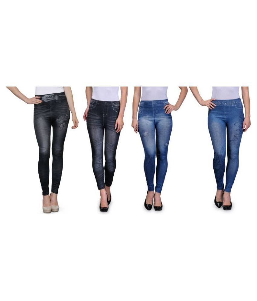 a5351ca48cb4b Buy MESH Poly Cotton Jeggings - Multi Color Online at Best Prices in India  - Snapdeal