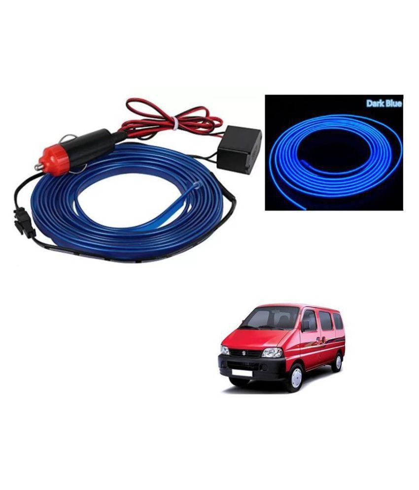 Auto Addict Blue Color 12V 5Mtrs Roll Cold Light Car Socket Strip Neon Lamp EL Wire Decor Interior Lighting For Maruti Suzuki Eeco