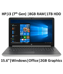 HP 15-da0070TX (Core i3/8GB/1TB HDD/Windows 10 Home/NVIDIA MX110 2GB GDDR5 Graphics/MS Office/Natural Silver/2.04 kg/15.6-inch Full HD Laptop)