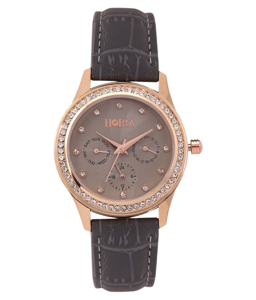 Horra Leather Round Womens Watch