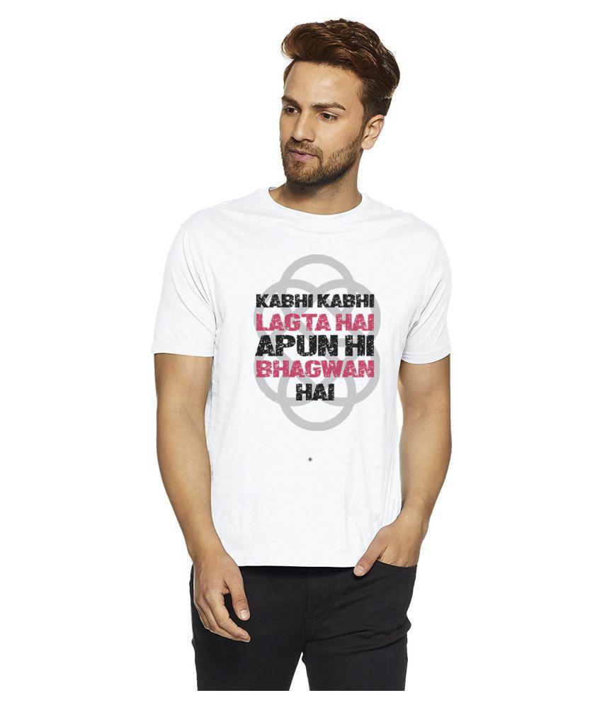 INDIRAGE 100 Percent Cotton White Quotes T-Shirt