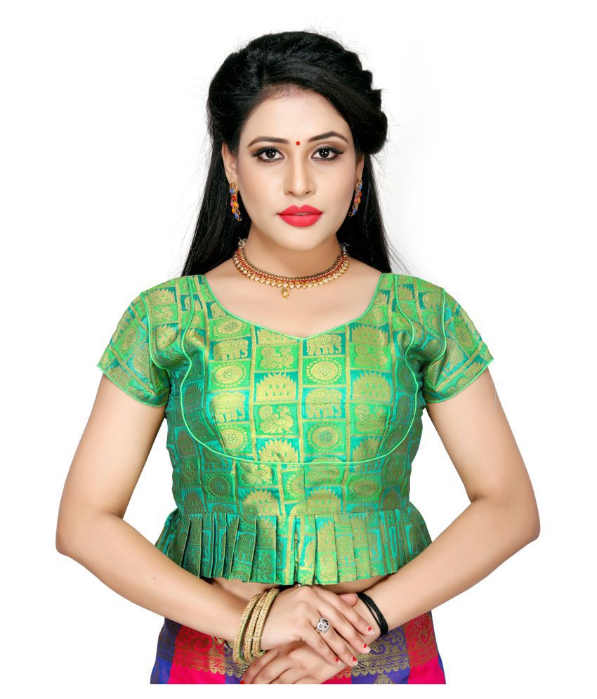 Shubh Sanidhya Multicoloured Jacquard Readymade with Pad Blouse
