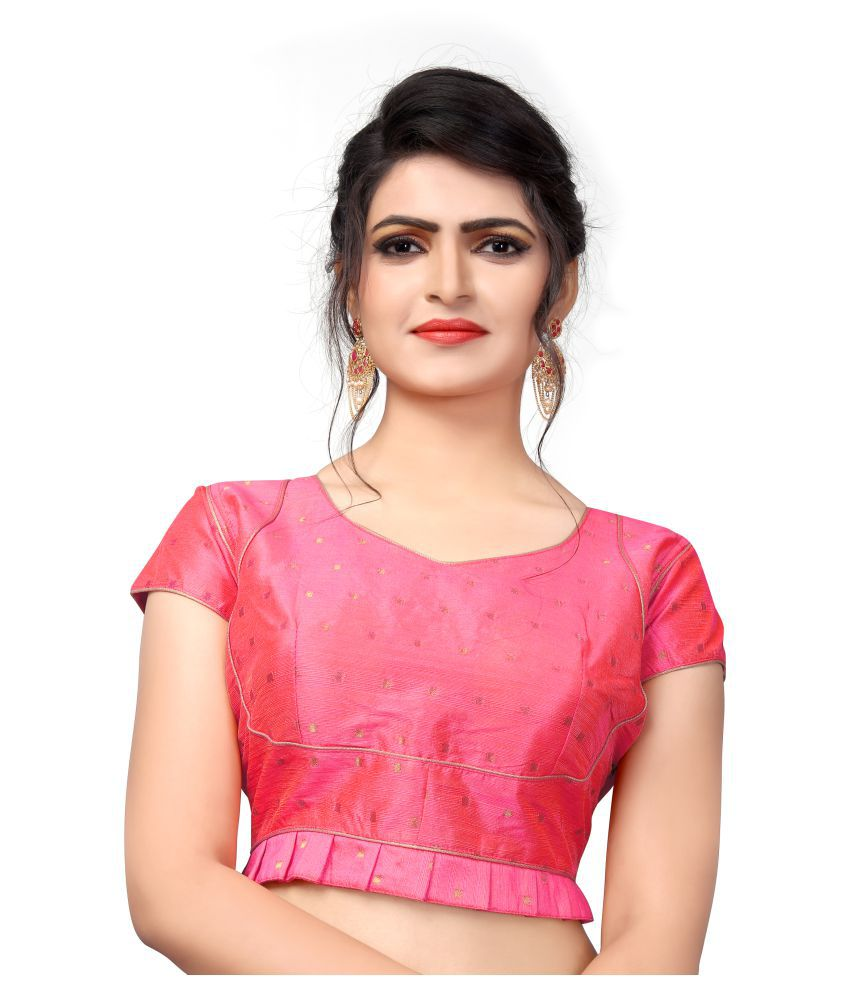 Shubh Sanidhya Pink Silk Readymade with Pad Blouse
