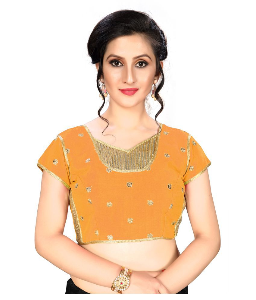 Shubh Sanidhya Yellow Silk Readymade with Pad Blouse