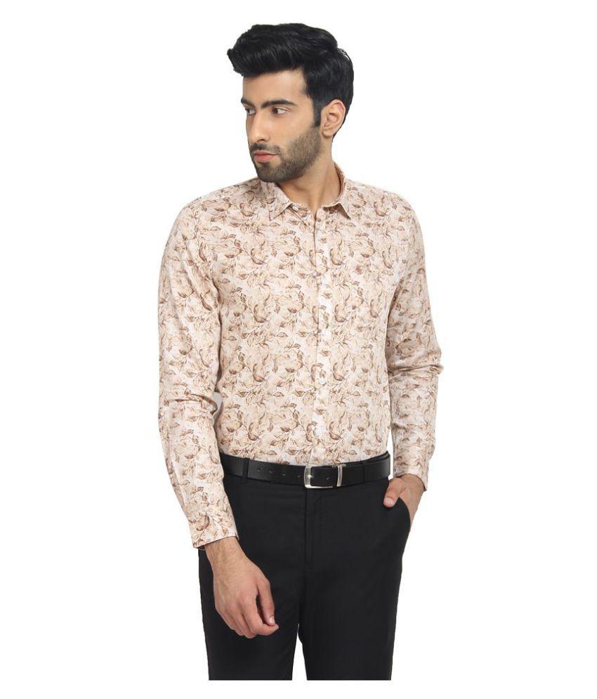 Cape Canary 100 Percent Cotton Brown Prints Shirt