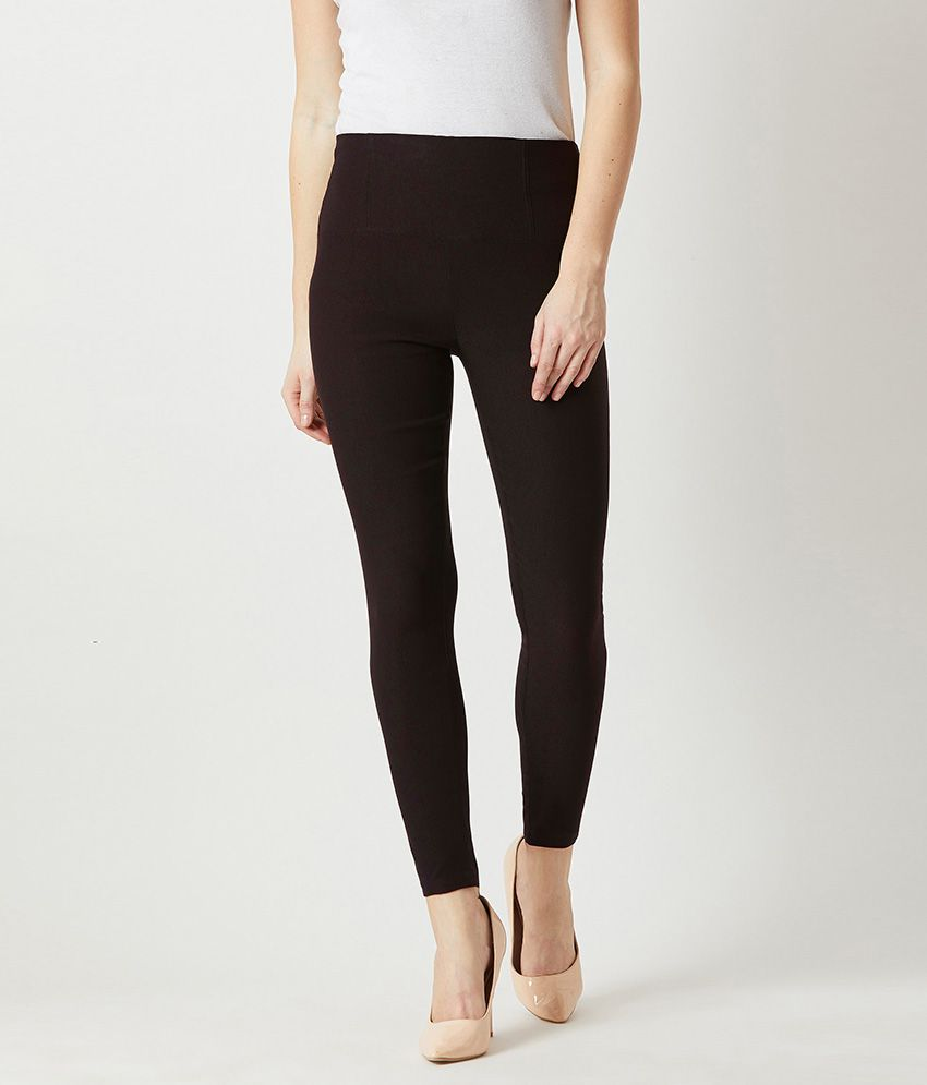 Miss Chase Polyester Jeggings - Black