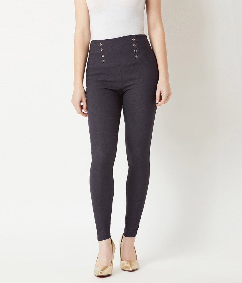 Miss Chase Polyester Jeggings - Grey