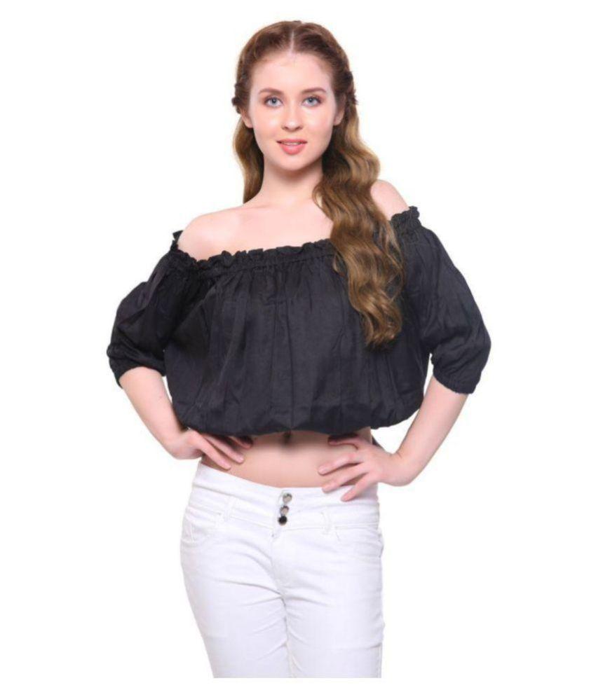 ORIZIA Poly Crepe Crop Tops - Black