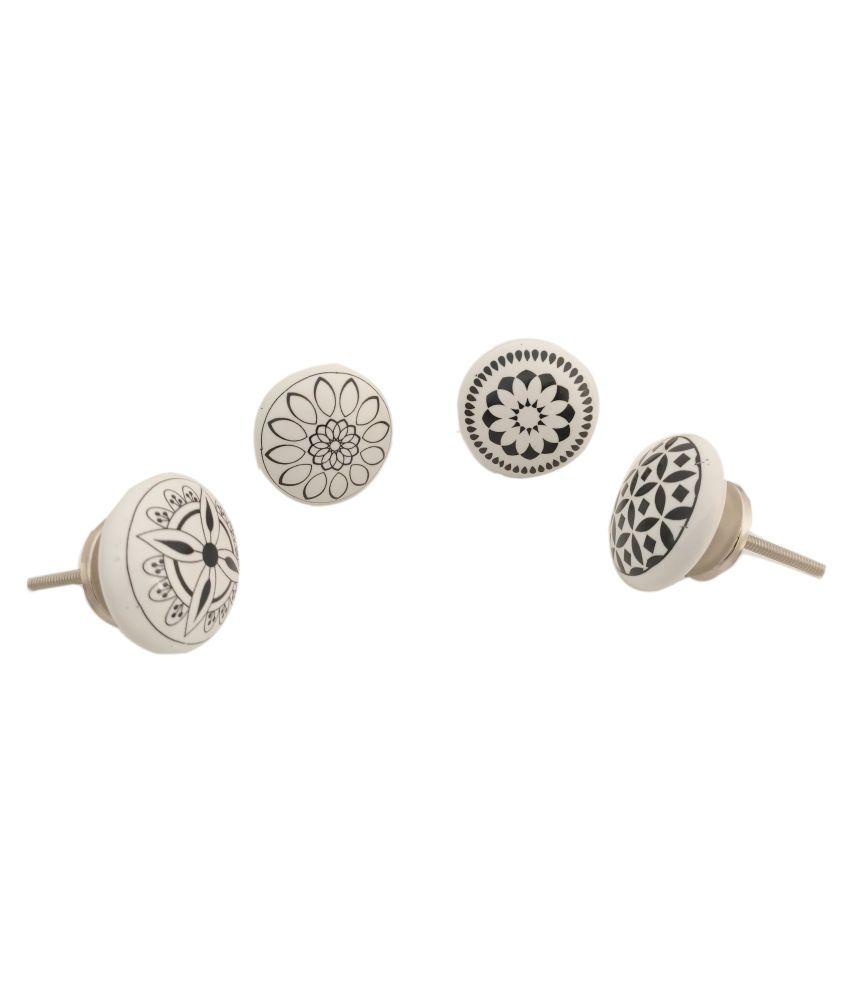 Artshai Ceramic Door Knobs Handpainted & Decorative/Door Handles/Cabinet/Wardrobe/Almirah/Drawer/Door Pulls/Cabinet Pulls/Drawer Pulls (Set of 4)