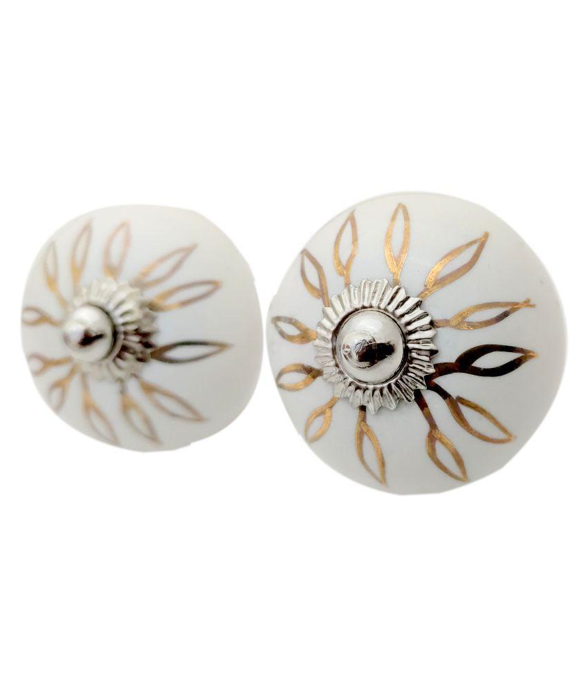 Artshai Handmade Leaf Flower Drawer Knobs Etched Furniture Pulls Cabinet Handle Pull knobs Set of 6