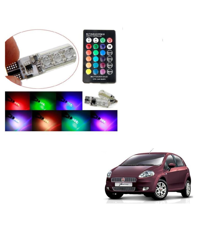 Auto Addict Car 5050 T10 6 SMD Remote Control 12V RGB Car Reading Wedge Lights for Auto Tail Light,Side,Parking,Door,Parking,Indicator,Socket Lighting Bulb 2 Pcs For Fiat Punto