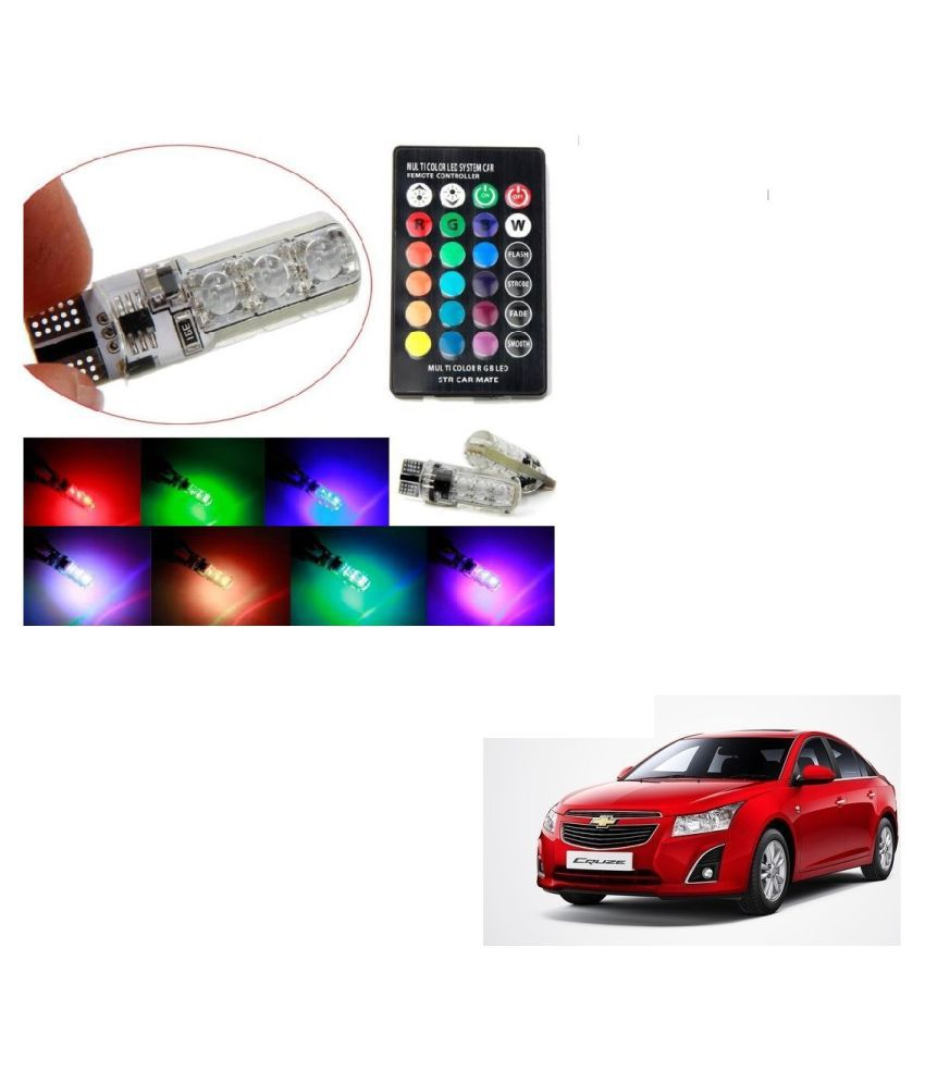 Auto Addict Car 5050 T10 6 SMD Remote Control 12V RGB Car Reading Wedge Lights for Auto Tail Light,Side,Parking,Door,Parking,Indicator,Socket Lighting Bulb 2 Pcs For Chevrolet Cruze