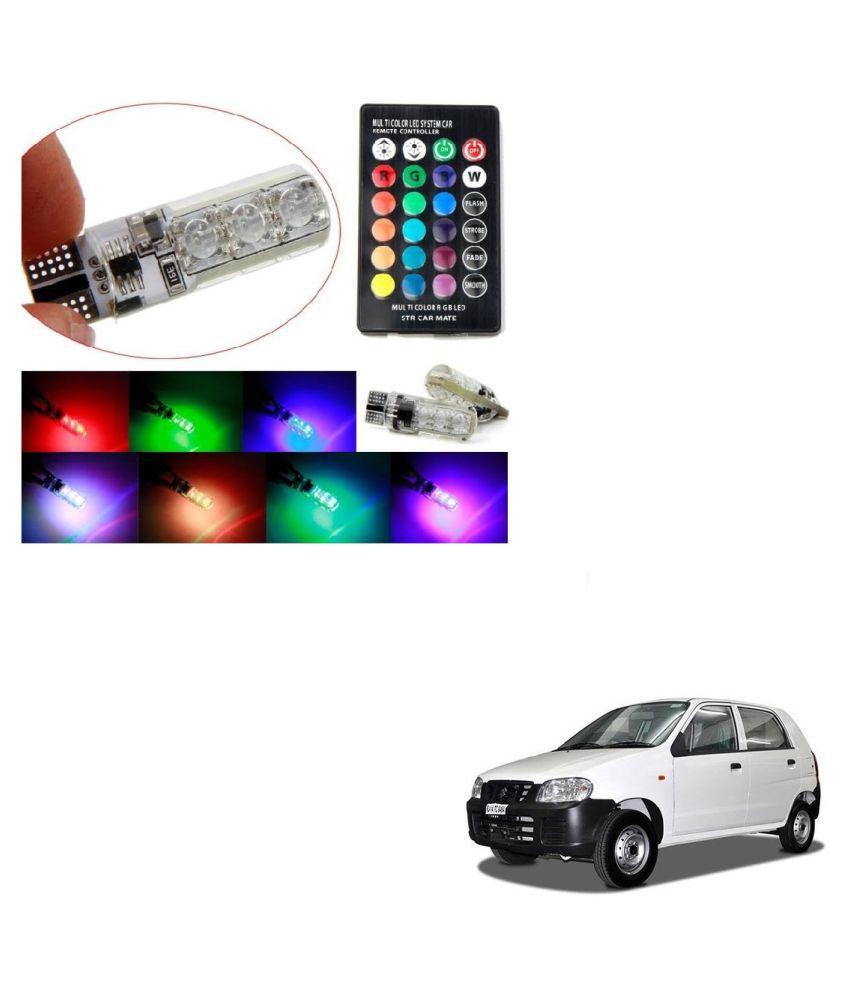 Auto Addict Car 5050 T10 6 SMD Remote Control 12V RGB Car Reading Wedge Lights for Auto Tail Light,Side,Parking,Door,Parking,Indicator,Socket Lighting Bulb 2 Pcs For Maruti Suzuki Alto