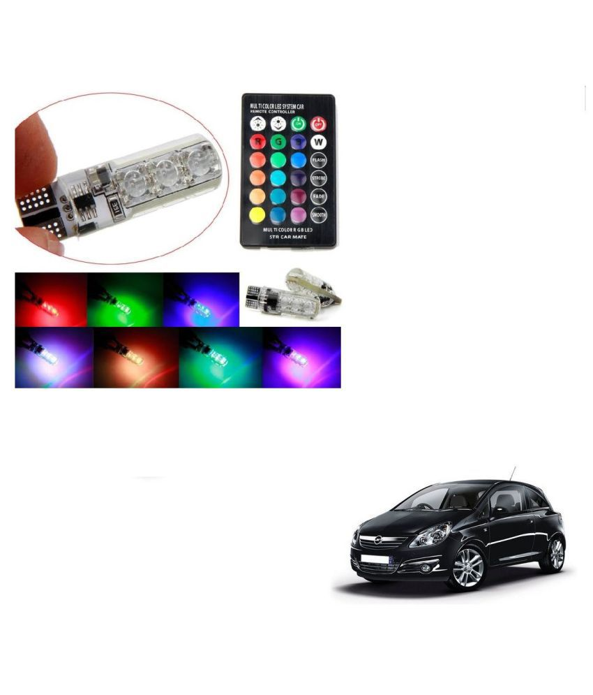 Auto Addict Car 5050 T10 6 SMD Remote Control 12V RGB Car Reading Wedge Lights for Auto Tail Light,Side,Parking,Door,Parking,Indicator,Socket Lighting Bulb 2 Pcs For Opel Corsa