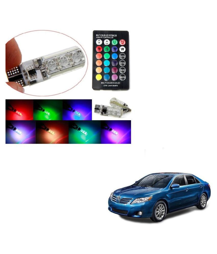 Auto Addict Car 5050 T10 6 SMD Remote Control 12V RGB Car Reading Wedge Lights for Auto Tail Light,Side,Parking,Door,Parking,Indicator,Socket Lighting Bulb 2 Pcs For Toyota Camry