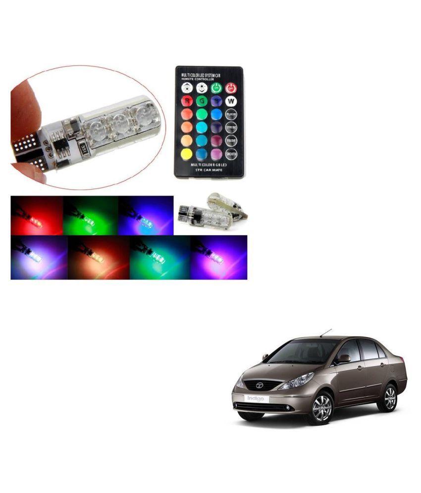 Auto Addict Car 5050 T10 6 SMD Remote Control 12V RGB Car Reading Wedge Lights for Auto Tail Light,Side,Parking,Door,Parking,Indicator,Socket Lighting Bulb 2 Pcs For Tata Indigo
