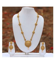 LookEthnic Copper Golden Long Haram Contemporary/Fashion 14 kt Gold Plated Necklaces Set