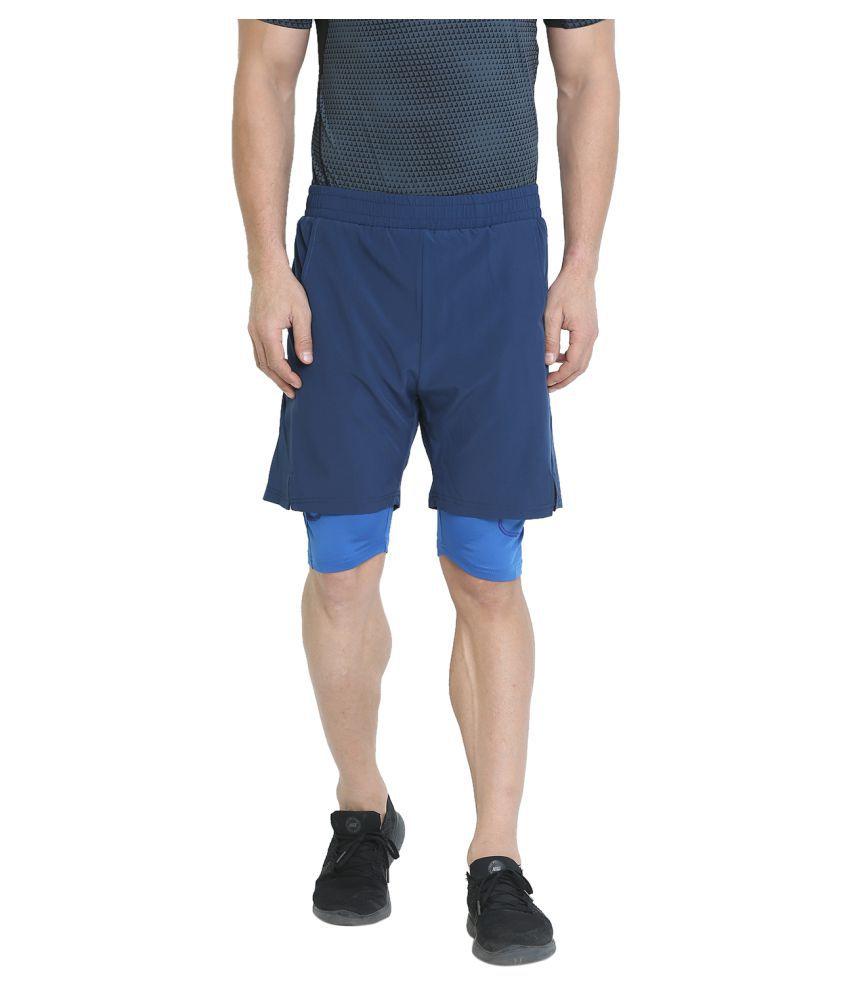 CHKOKKO Polyester Men Double Layered Sports Gym Workout Running Shorts