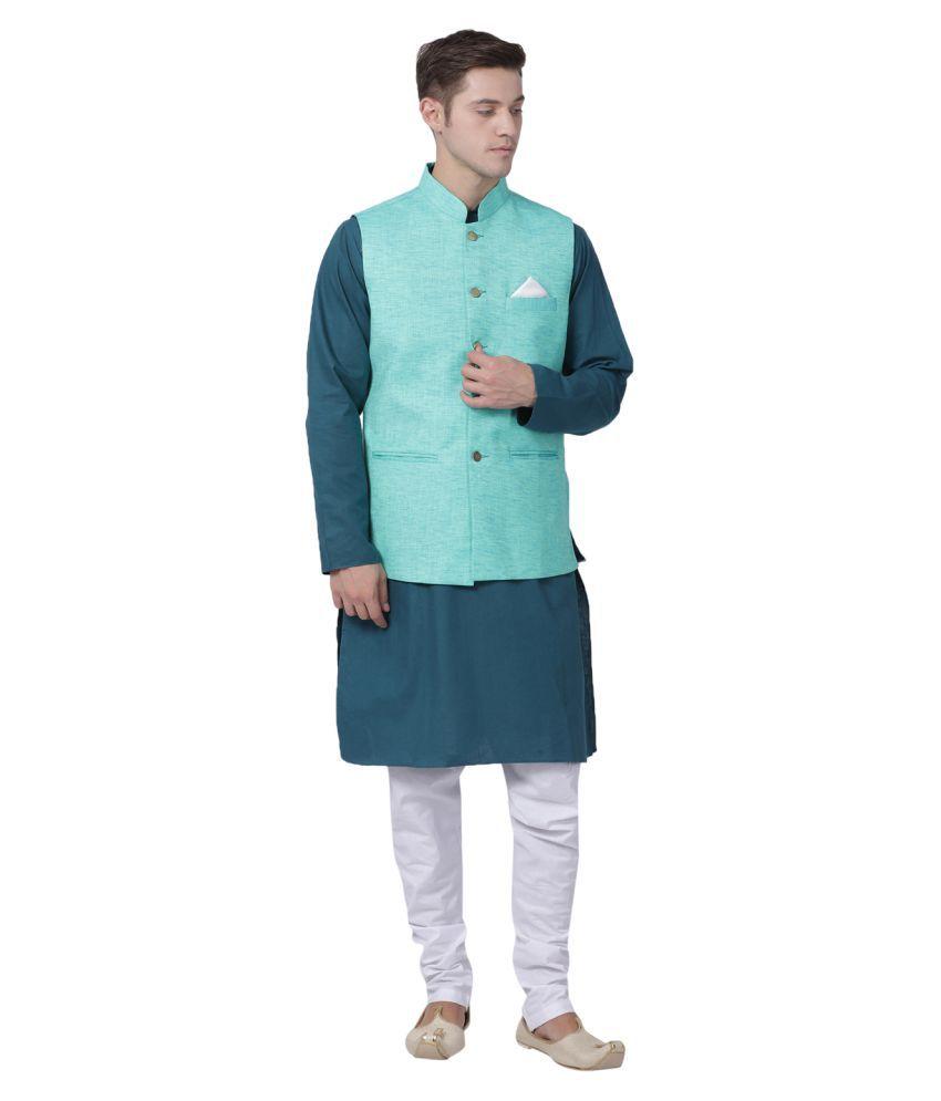 Tabard Green Cotton Kurta Pyjama Set
