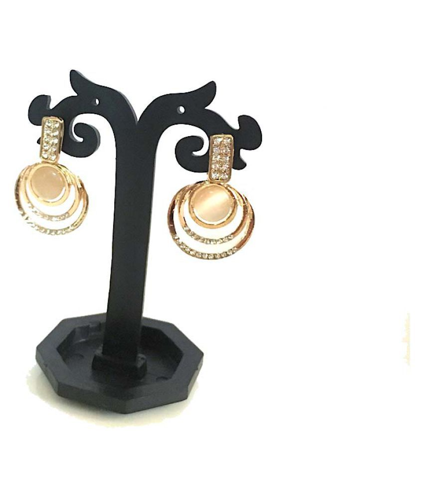Opal Collection Designer Combo Rose Gold Plated Earrings for Women and Girls