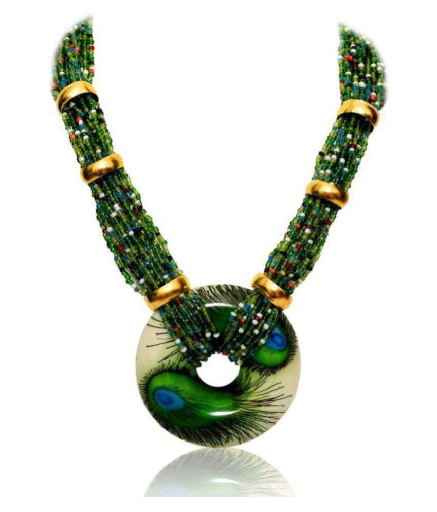 Renaissance Traders Acrylic Green Contemporary Contemporary/Fashion Titanium Plated Necklace