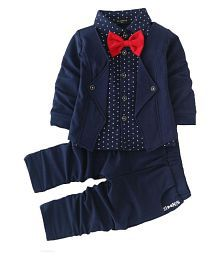 Boys Cotton Blazer Style Shirt and Pant Suit Set in Blue Colour 3-4 Years