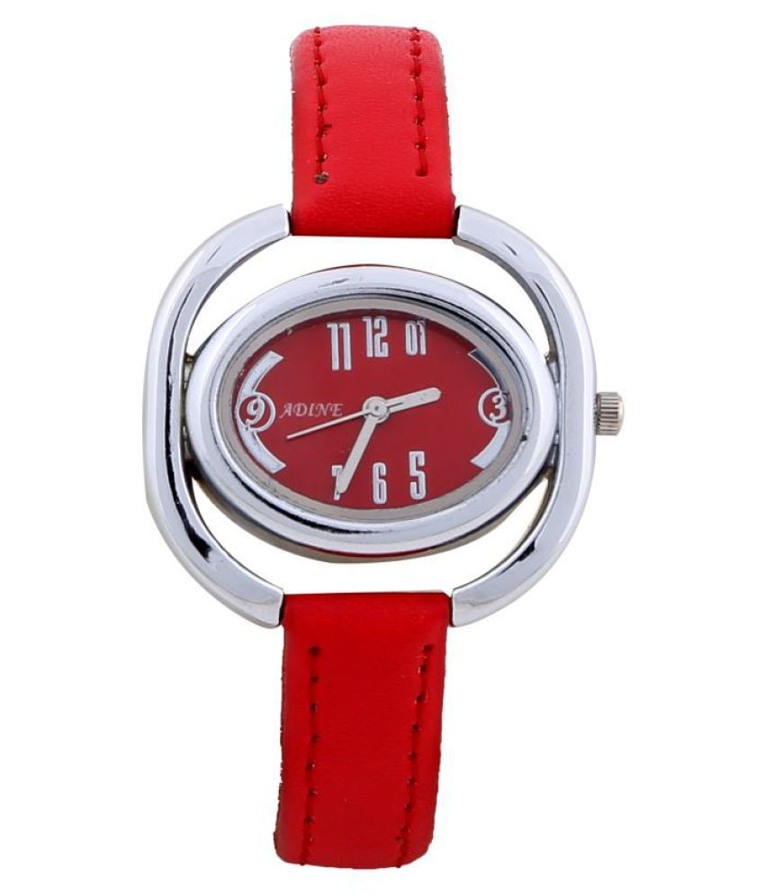 Adine Leather Round Womens Watch