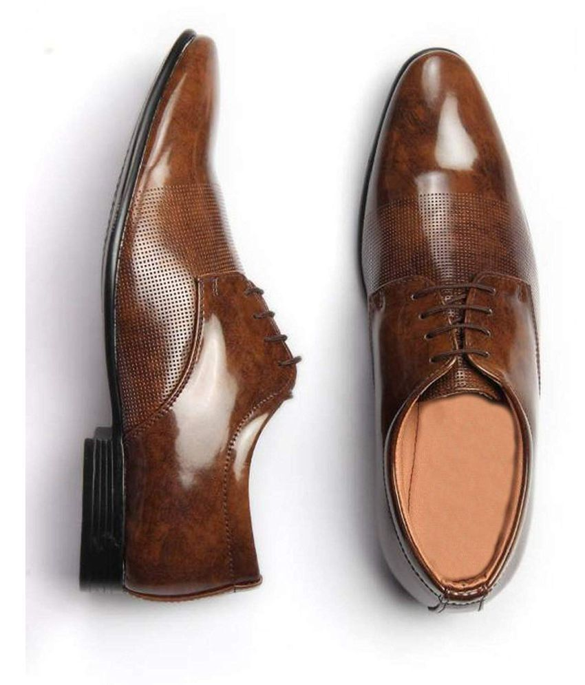 DEEKADA Party Artificial Leather Brown Formal Shoes