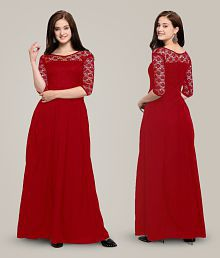Fashion2wear Crepe Red One piece Maxi/Long Western Dress Women