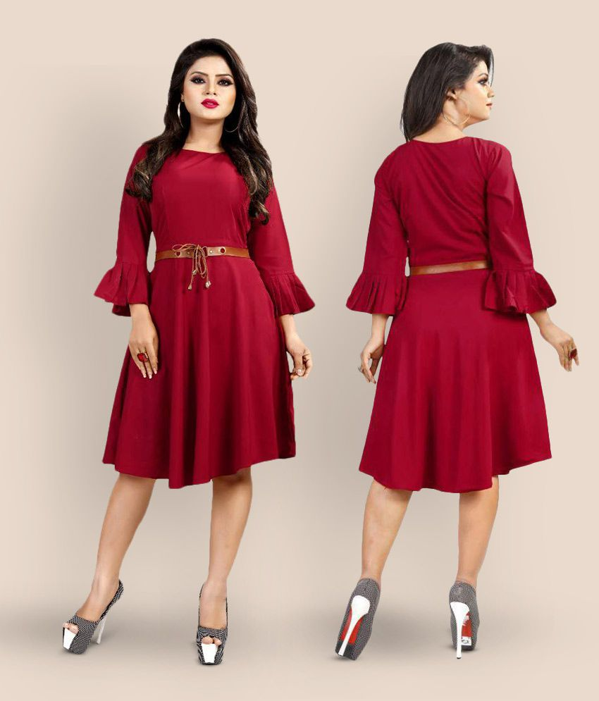 Lee Fashion Crepe Maroon A- line One Piece Short Western Dress