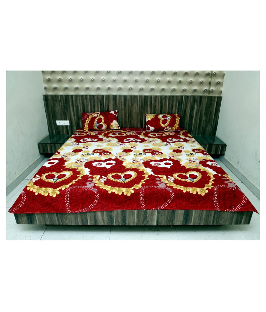 Affanni Cotton Double Bedsheet with 2 Pillow Covers