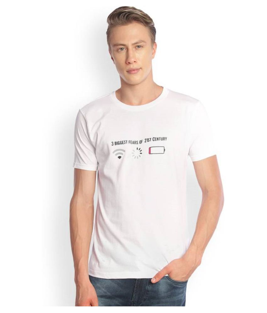 LOOK YOURS White Half Sleeve T-Shirt Pack of 1