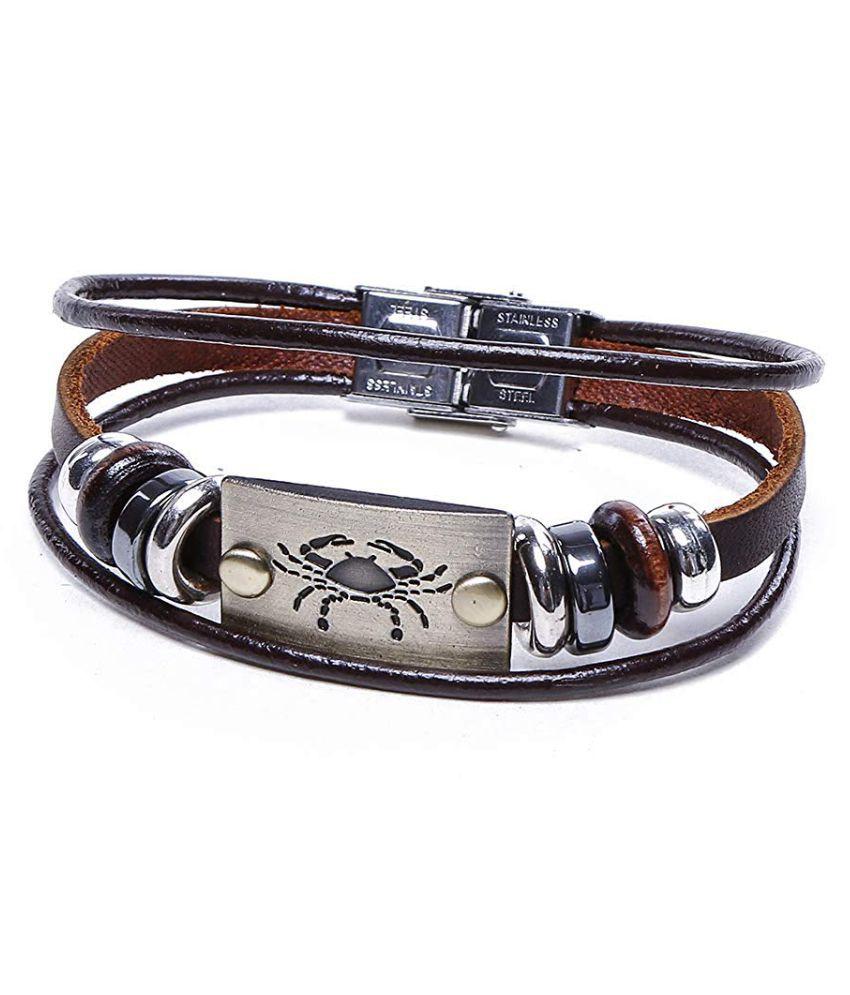 Scorpio Sign Wristband Handmade Black Leather Gift