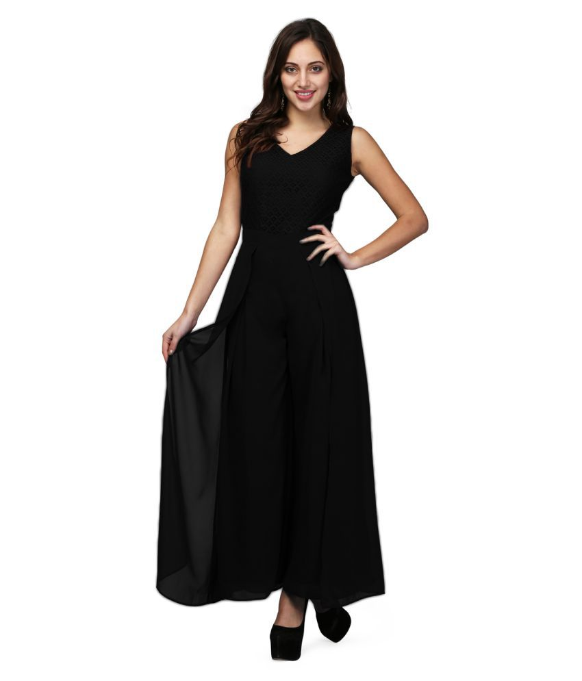 V&M Black Georgette Jumpsuit