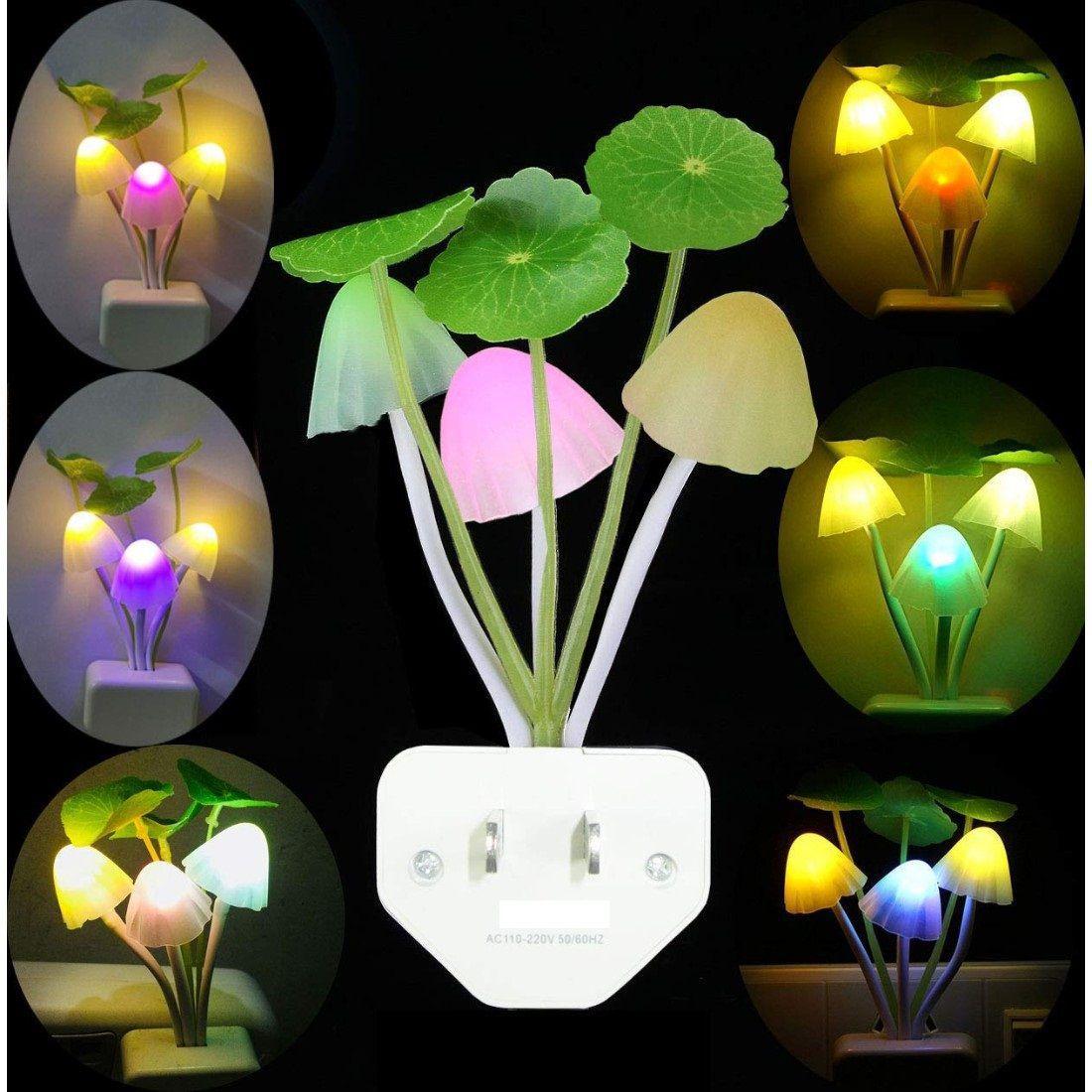 Euros Fancy Mushroom Shape LED Color Changing Light Automatic Sensor Night Lamp Multi - Pack of 1