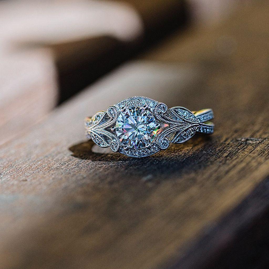 Fashion Elegant Vintage Rhinestone Leaves Flower Branch Ring Ladies Jewelry Fashion Jewellery