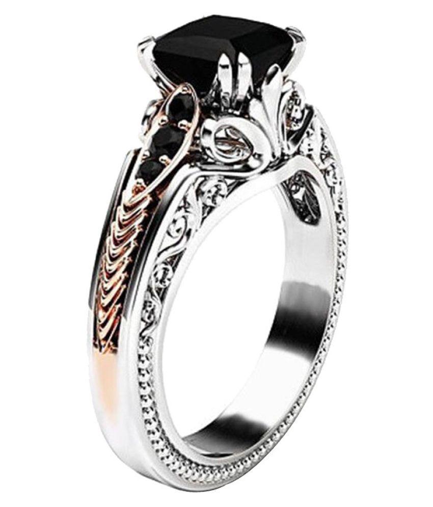Fashion Women Copper Rings Black Gemstone Jewelry Wedding Rings