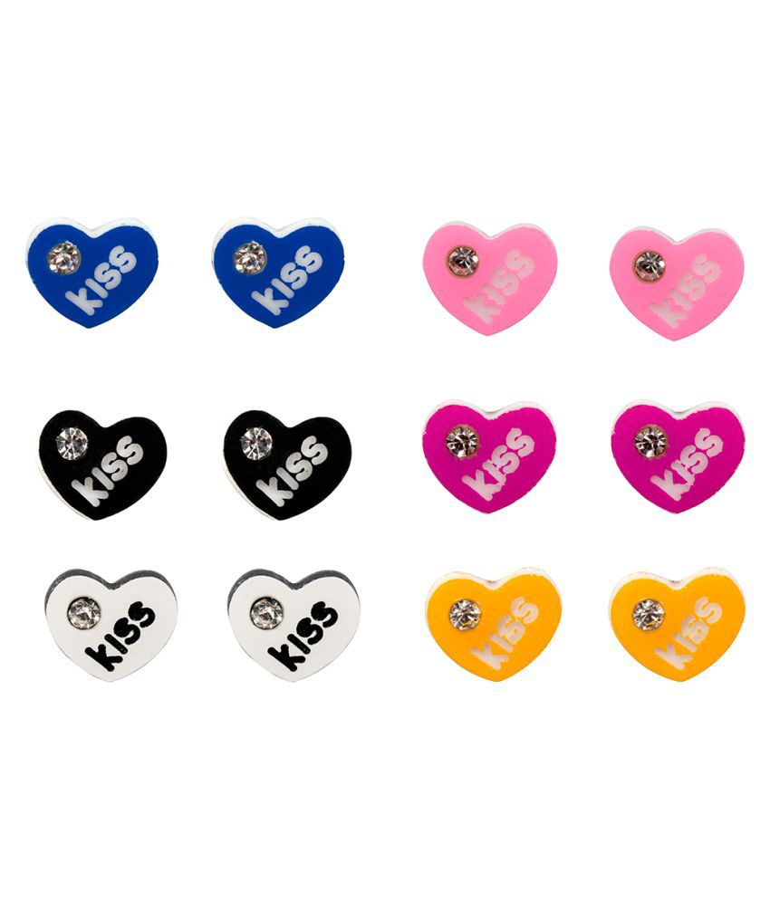 Lil Star By Ayesha Multi Color Heart Shaped Studs with Quotes for Kids Girls
