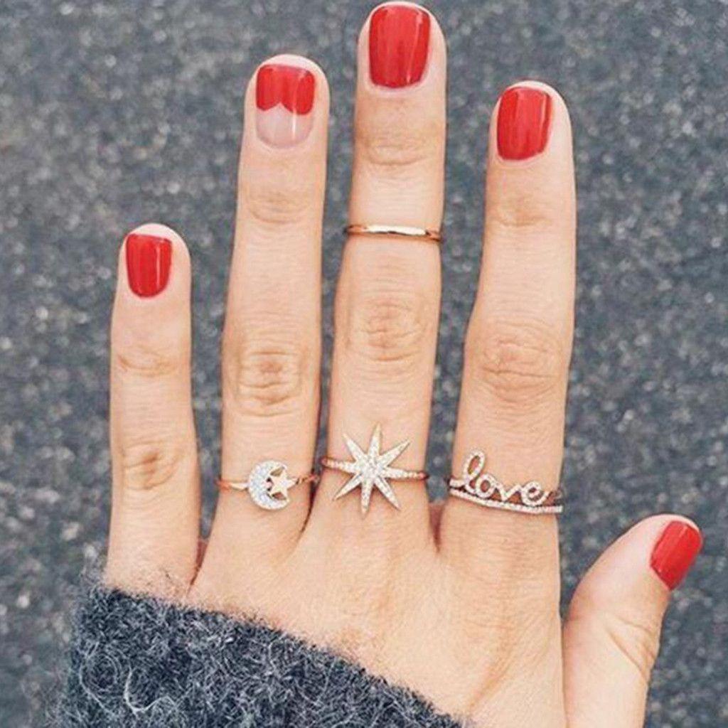 Women Retro Fashion Size Stars Moon glish Letters Alloy Ring Set Of 4 Jewelry Fashion Jewellery