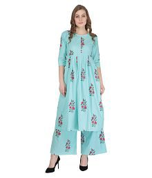 Decot Paradise Blue Cotton Straight Stitched Suit