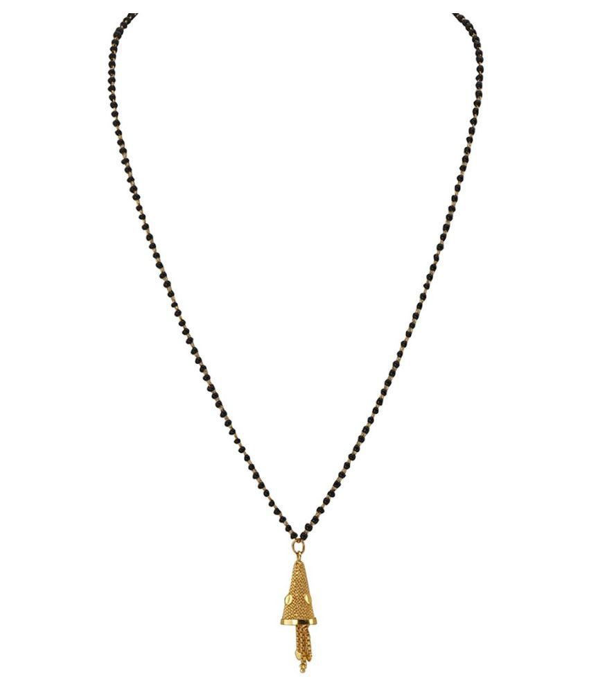 Arafa Jewellery Traditional Black Bead Chain Gold Plated 9 inch Mangalsutra for Women Attractive Look